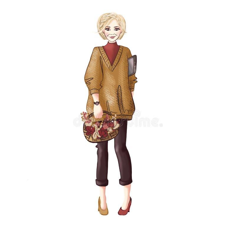 Mujer con una cesta de hojas de otoño en sus manos y una tableta debajo de su brazo ilustración del vector