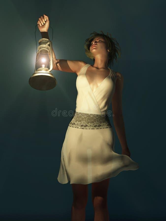 Mujer con una linterna que vaga en la obscuridad ilustración del vector