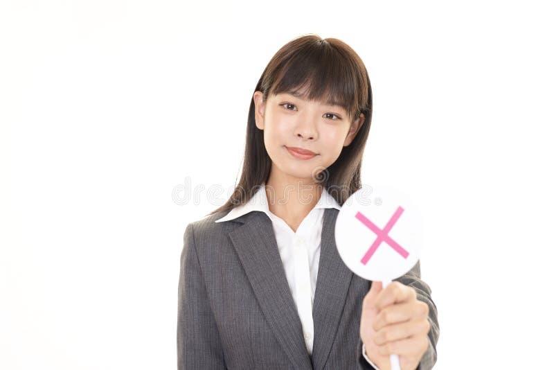 Mujer con una ninguna muestra fotografía de archivo