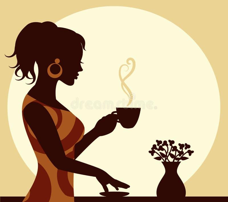 Mujer con una taza de cocer el café al vapor a disposición libre illustration