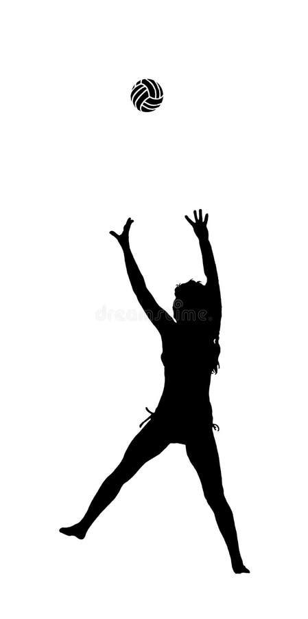 Mujer con voleibol ilustración del vector