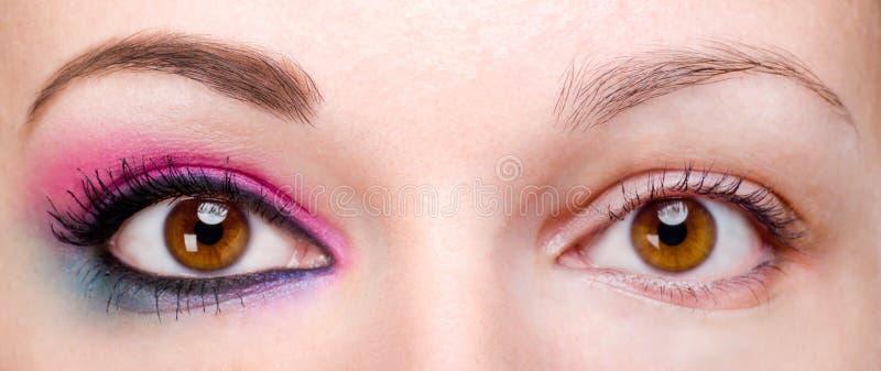 Mujer con y sin maquillaje del ojo imagen de archivo libre de regalías