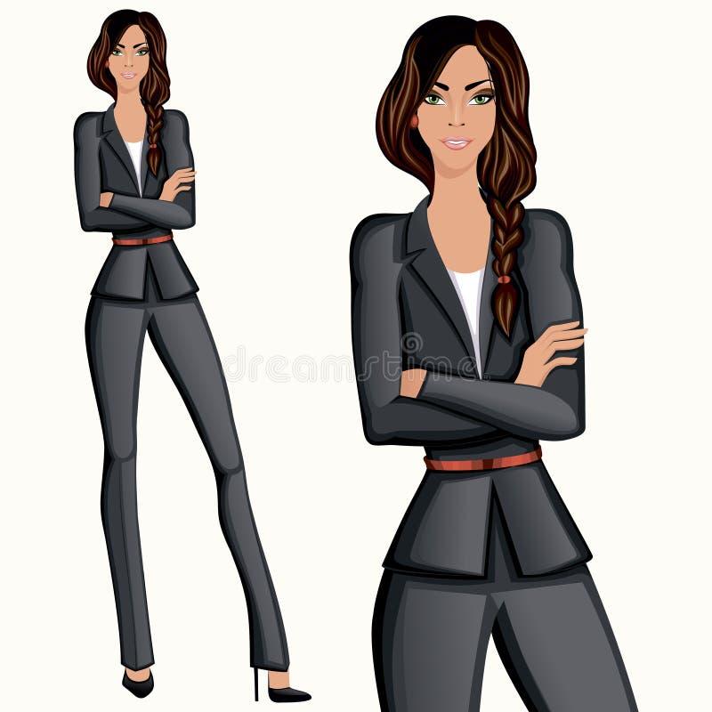 Mujer confiada atractiva del estilo del negocio stock de ilustración