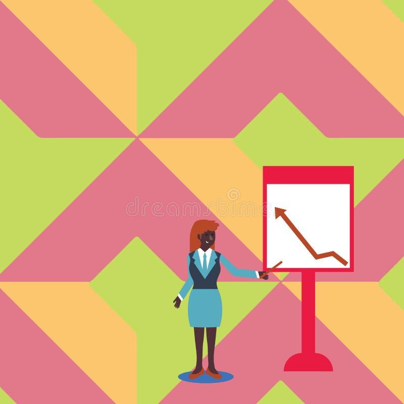 Mujer confiada en palillo de la tenencia del traje de negocios y el señalar para trazar de la flecha que sube en Whiteboard libre libre illustration