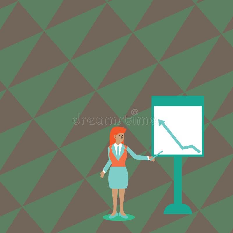 Mujer confiada en palillo de la tenencia del traje de negocios y el señalar para trazar de la flecha que sube en Whiteboard libre ilustración del vector