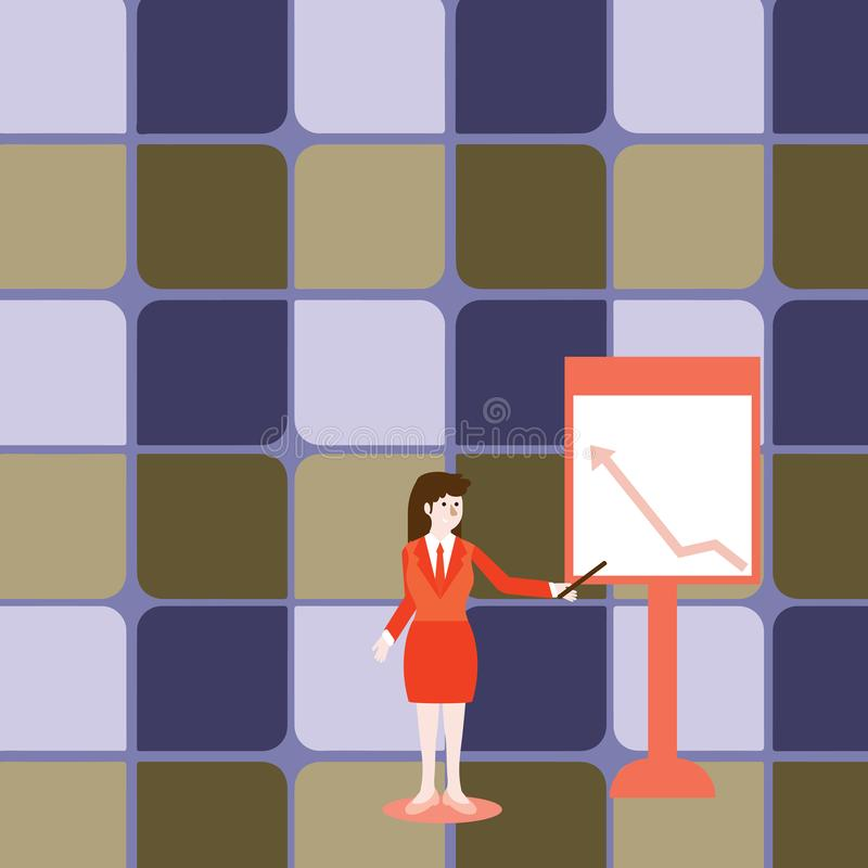 Mujer confiada en palillo de la tenencia del traje de negocios y el se?alar para trazar de la flecha que sube en Whiteboard libre libre illustration