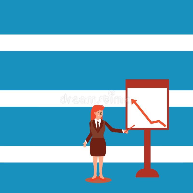 Mujer confiada en palillo de la tenencia del traje de negocios y el se?alar para trazar de la flecha que sube en Whiteboard libre stock de ilustración