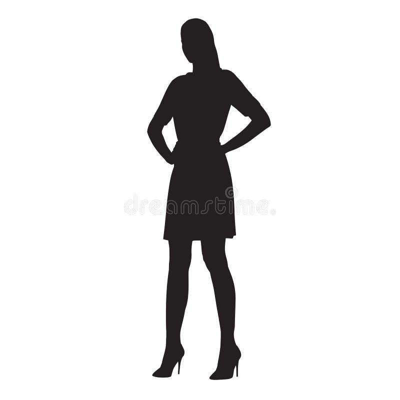 Mujer confiada que se coloca con los brazos en sus caderas stock de ilustración