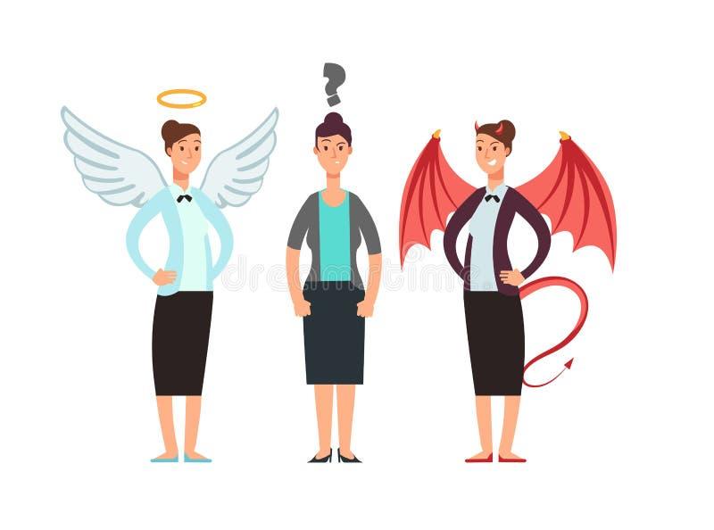 Mujer confusa con ángel y diablo sobre hombros Concepto del vector de la ética empresarial ilustración del vector