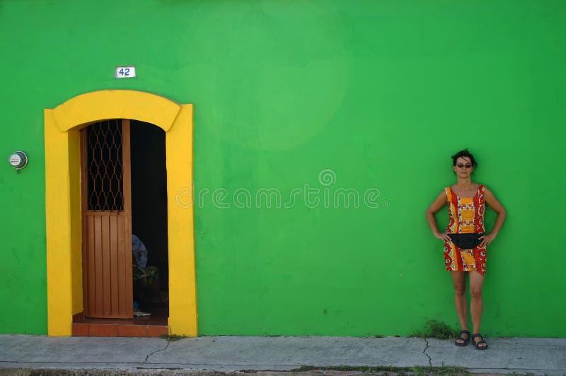 Mujer Contra La Pared Verde Imagen de archivo