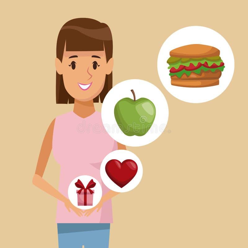 Mujer cuerpo colorido del cartel del medio e icono rectos de los regalos sanos de la comida de los elementos ilustración del vector