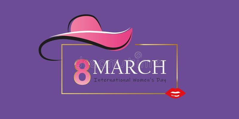 Mujer día tarjeta de felicitación elegante del 8 de marzo con el sombrero y los labios rojos stock de ilustración