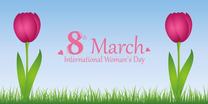 Mujer día tulipanes del rosa del 8 de marzo ilustración del vector