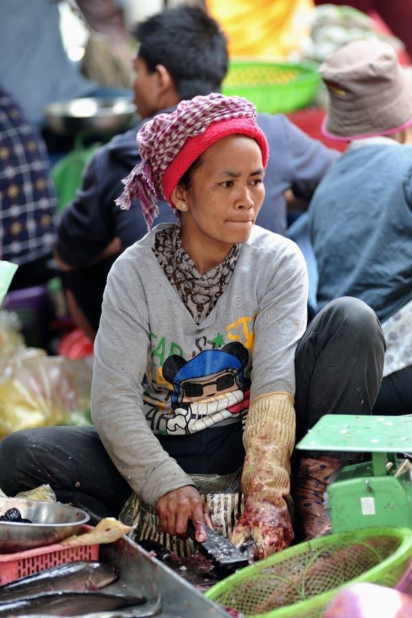 Mujer de Asia del mercado de la comida de Camboya foto de archivo libre de regalías
