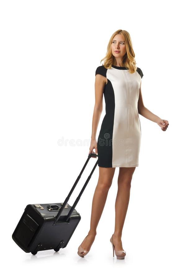 Mujer de Attrative con la maleta fotografía de archivo libre de regalías
