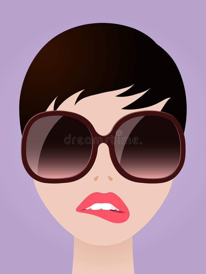 Mujer de Cartooned con las lentes que muerde sus labios ilustración del vector