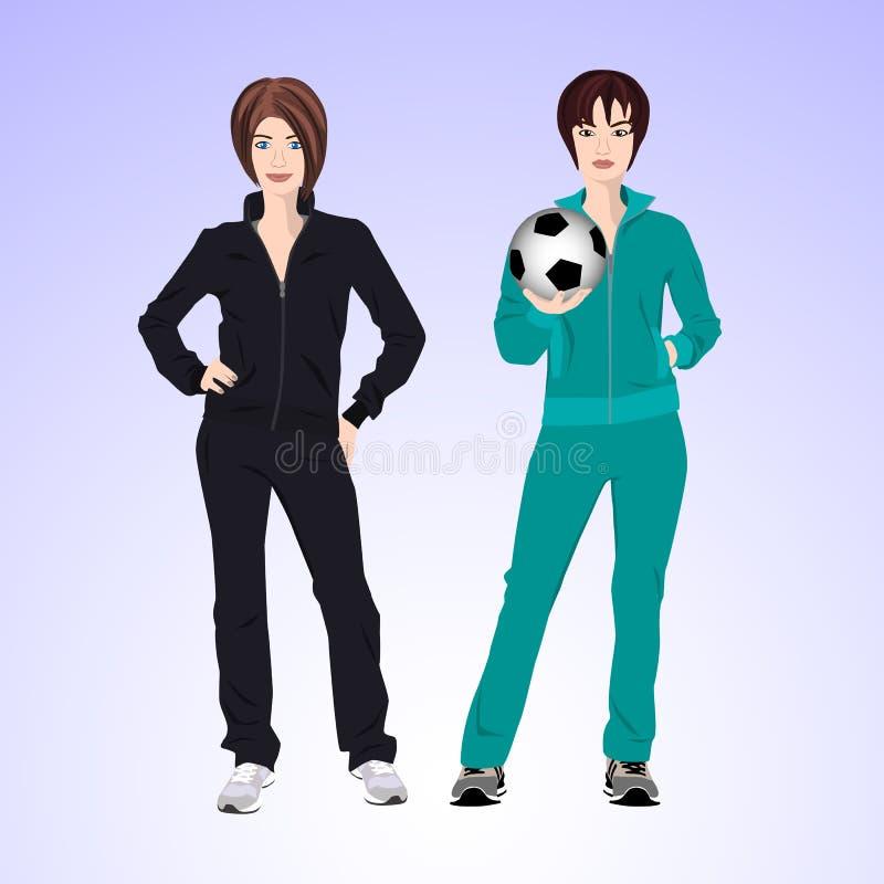 Mujer de dos deportes con un balón de fútbol fotos de archivo