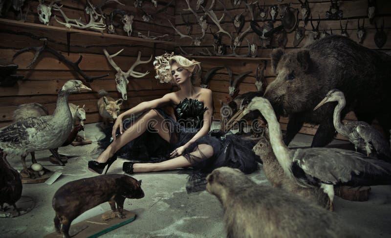 Mujer de fascinación con los animales salvajes imagenes de archivo