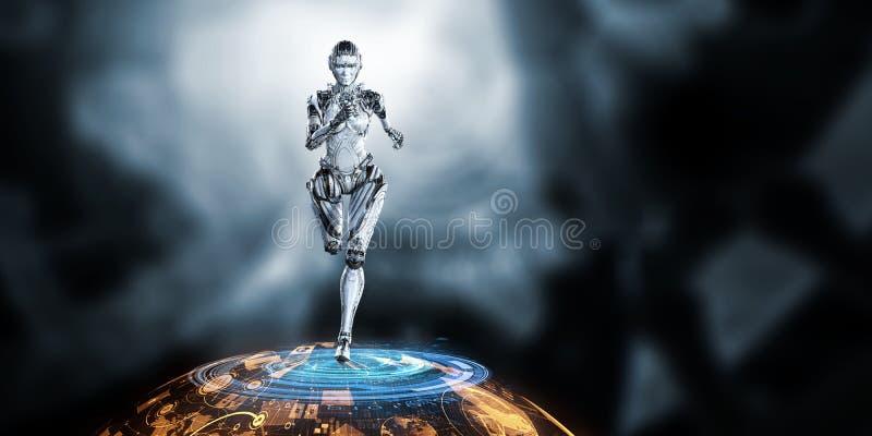 Mujer de funcionamiento de plata del Cyborg Técnicas mixtas stock de ilustración