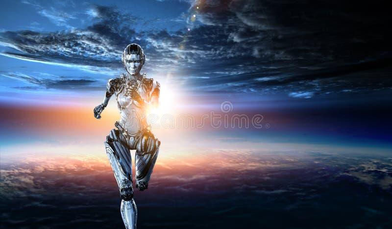 Mujer de funcionamiento de plata del Cyborg T?cnicas mixtas fotografía de archivo
