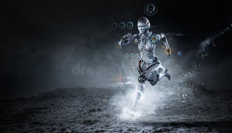 Mujer de funcionamiento de plata del Cyborg T?cnicas mixtas fotos de archivo libres de regalías