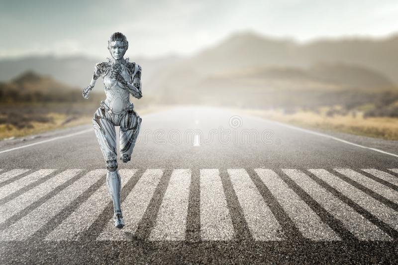 Mujer de funcionamiento de plata del Cyborg T?cnicas mixtas imagenes de archivo