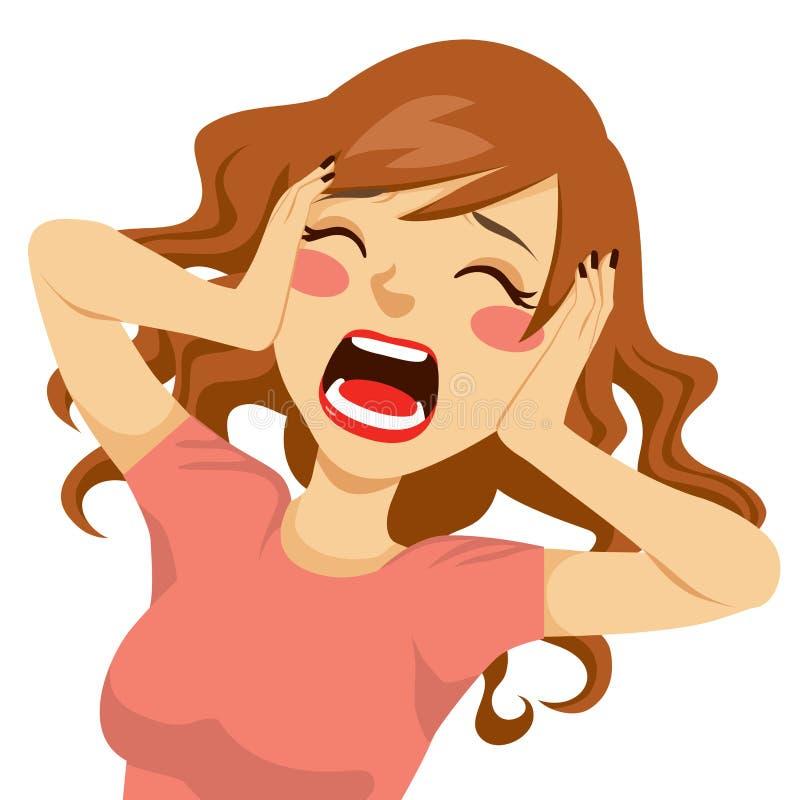 Mujer de griterío desesperada libre illustration