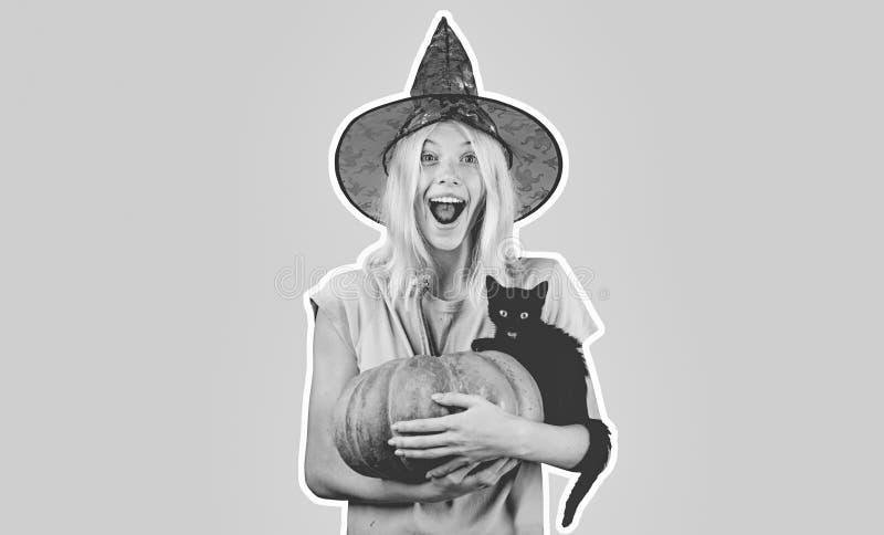 Mujer de Halloween en etiquetas engomadas aisladas Ama de casa Witch con la calabaza Cara asustadiza Bandera ancha de Halloween V imagen de archivo libre de regalías