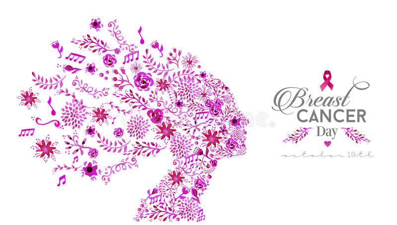 Mujer de la acuarela del día de la conciencia del cáncer de pecho del mundo libre illustration
