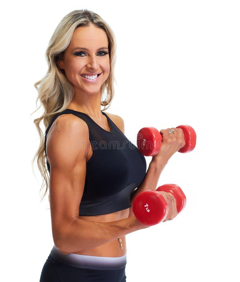 Mujer de la aptitud con pesas de gimnasia imágenes de archivo libres de regalías