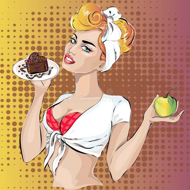 Mujer de la aptitud Pin-para arriba con el postre y la manzana de la torta libre illustration
