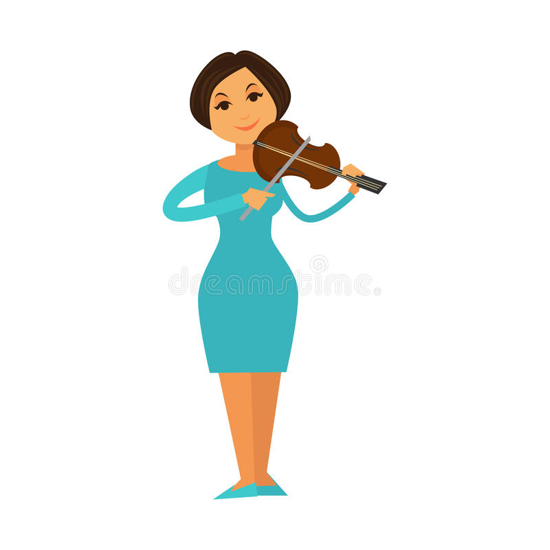 Mujer de la banda de jazz de la orquesta que juega el icono plano del vector del ejecutante de la música del violín del violín libre illustration