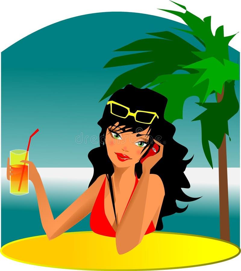 Mujer de la bebida stock de ilustración