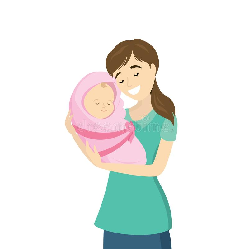Mujer de la belleza con el bebé recién nacido libre illustration