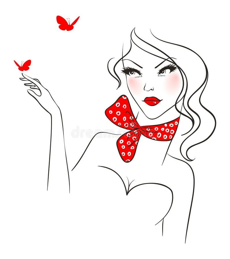 Mujer de la belleza con la mariposa libre illustration