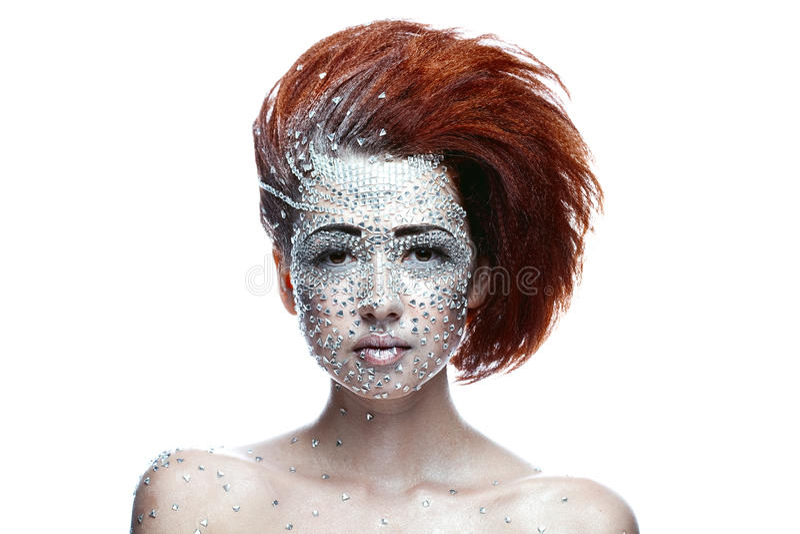 Mujer de la belleza en maquillaje futurista imágenes de archivo libres de regalías