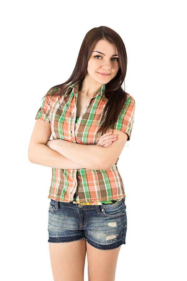 Mujer de la camisa de tela escocesa imagen de archivo
