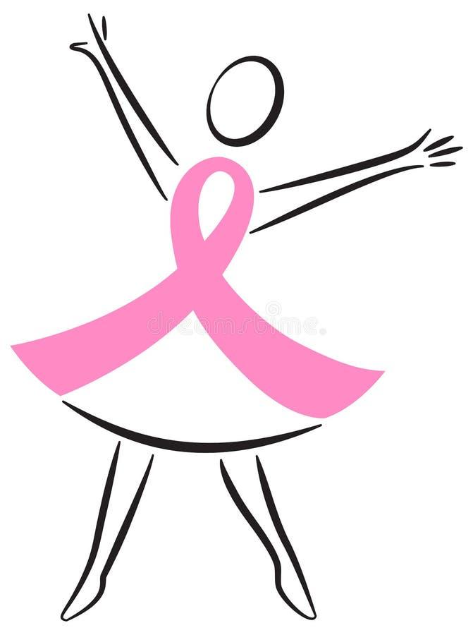 Mujer de la cinta del color de rosa del cáncer de pecho stock de ilustración