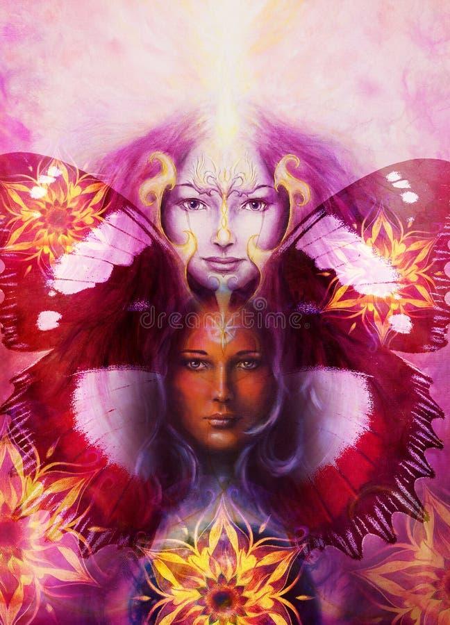 Mujer de la diosa de la pintura hermosa con el pájaro Phoenix ilustración del vector