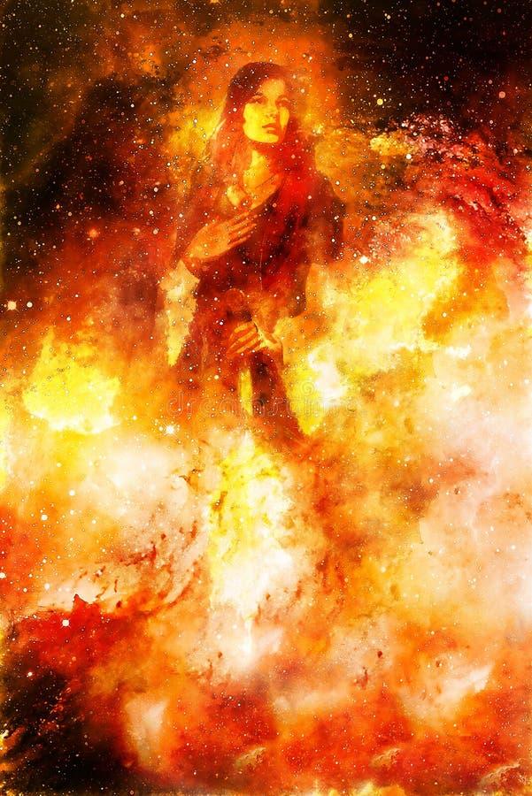 Mujer de la diosa que sostiene la espada ligera cósmica Fondo cósmico Efecto de fuego stock de ilustración