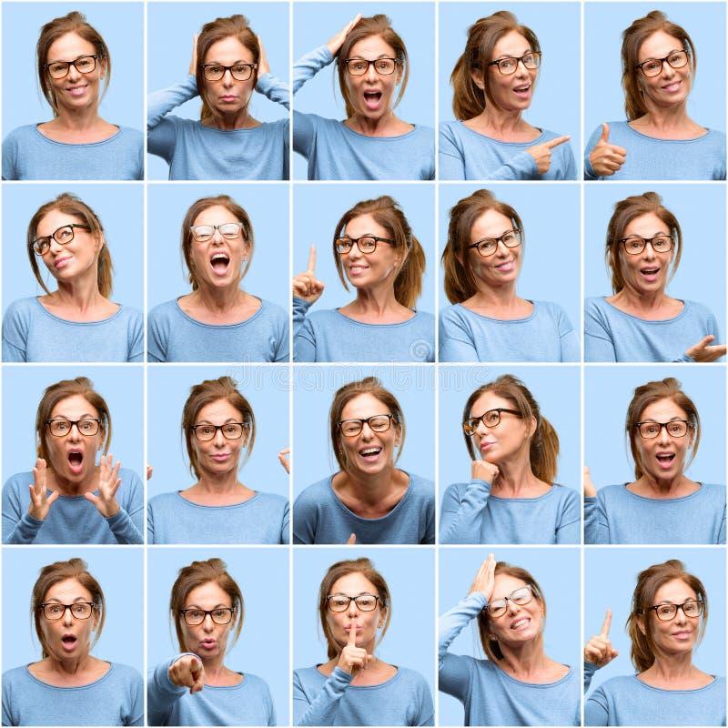 Mujer de la Edad Media, diverso collage de las emociones sobre fondo azul fotografía de archivo