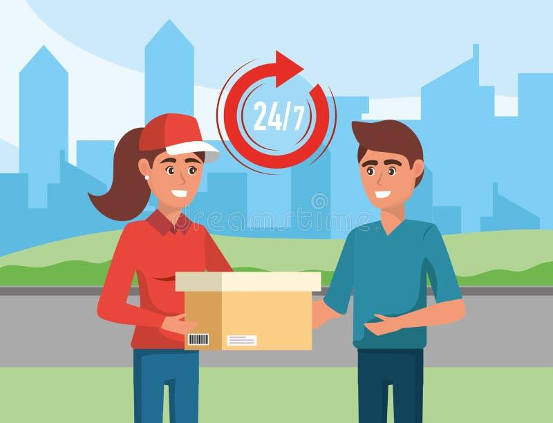 Mujer de la entrega con servicio de distribución de la caja a un hombre libre illustration