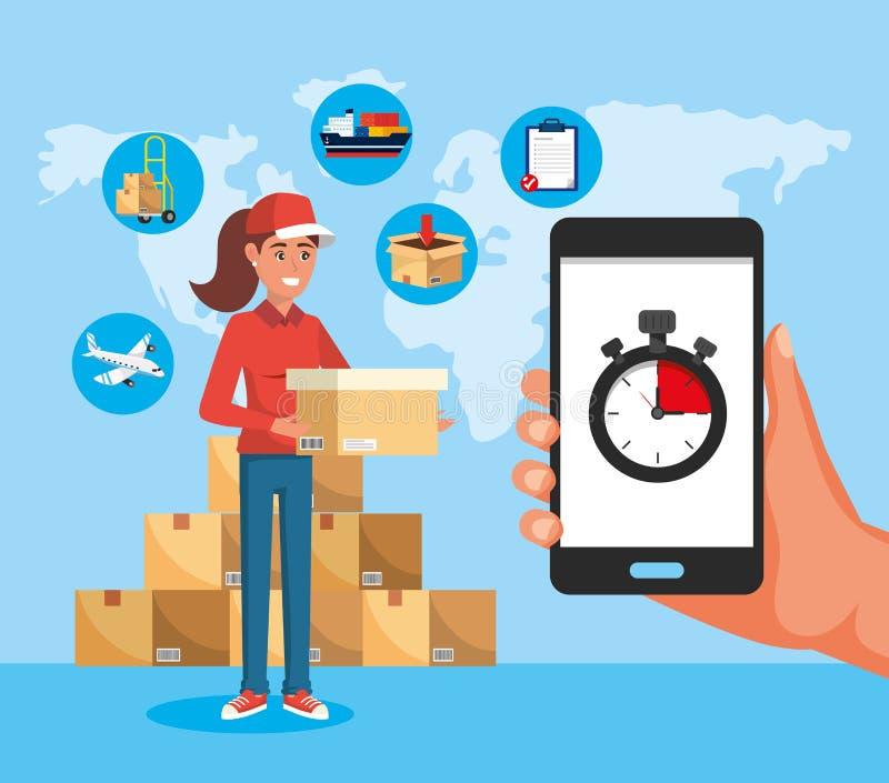 Mujer de la entrega con servicio de las cajas y smartphone con el cronómetro stock de ilustración