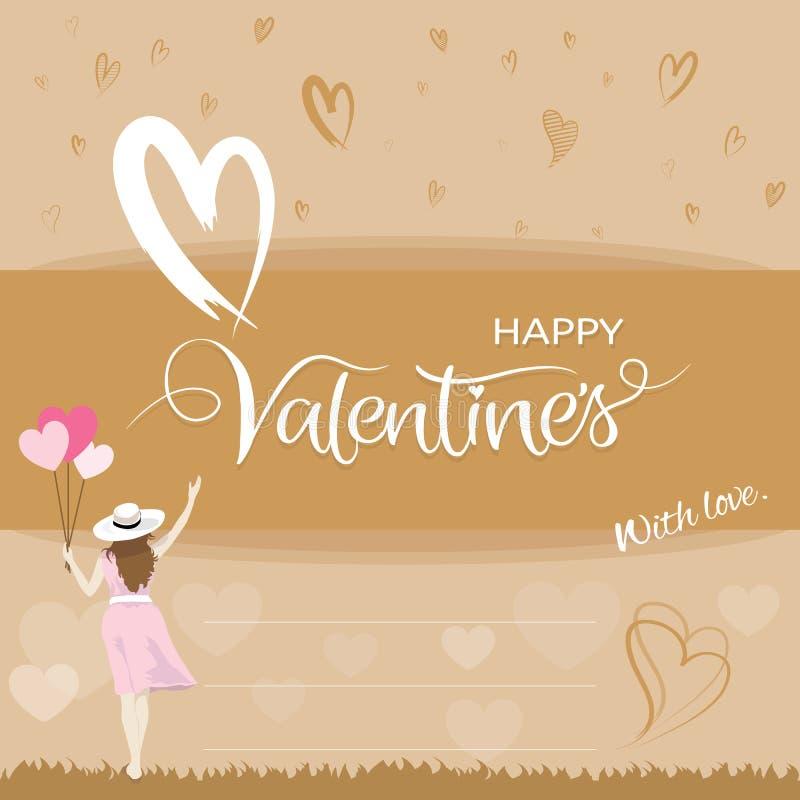 Mujer de la felicidad que sostiene los globos de la forma del corazón y que aumenta la mano, concepto de día de San Valentín libre illustration
