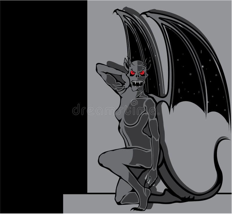 Mujer de la gárgola ilustración del vector