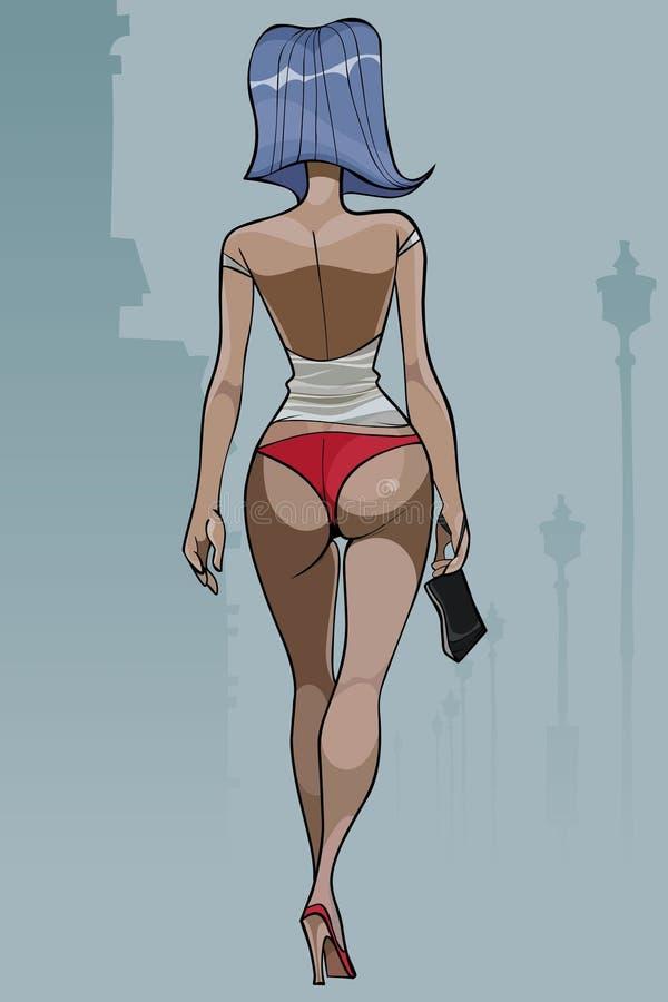 Mujer de la historieta con el pelo azul que camina en traje de la playa ilustración del vector