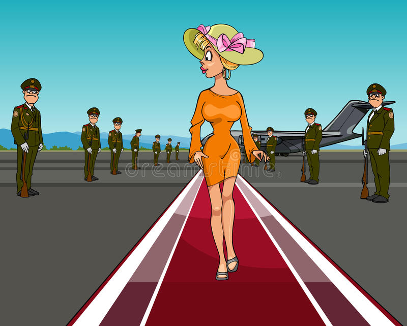 Mujer de la historieta en un sombrero que camina en la alfombra roja de los aviones libre illustration