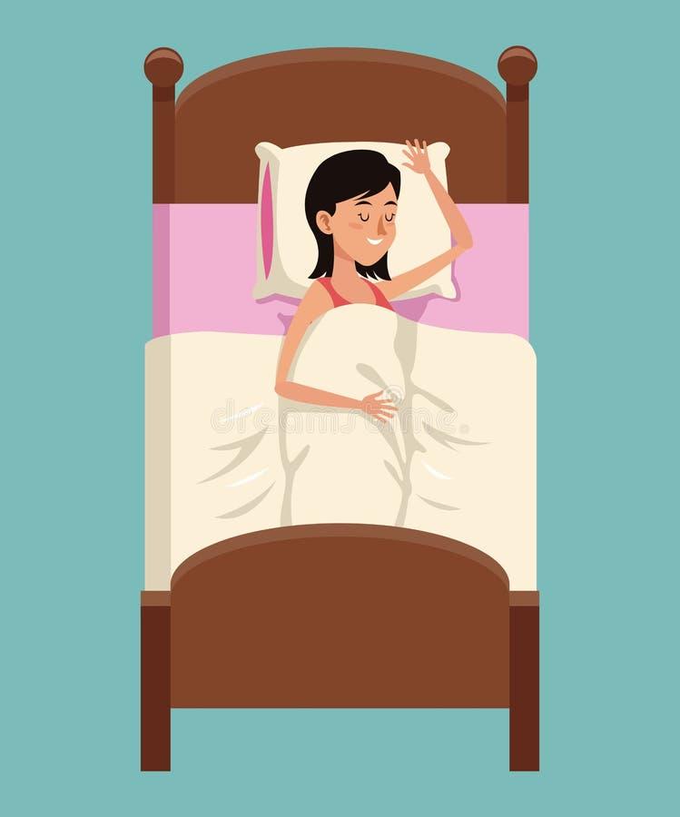 Mujer de la historieta que duerme en placidez de la cama stock de ilustración