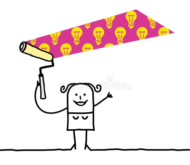 Mujer de la historieta que pinta un BulbsPattern ligero stock de ilustración