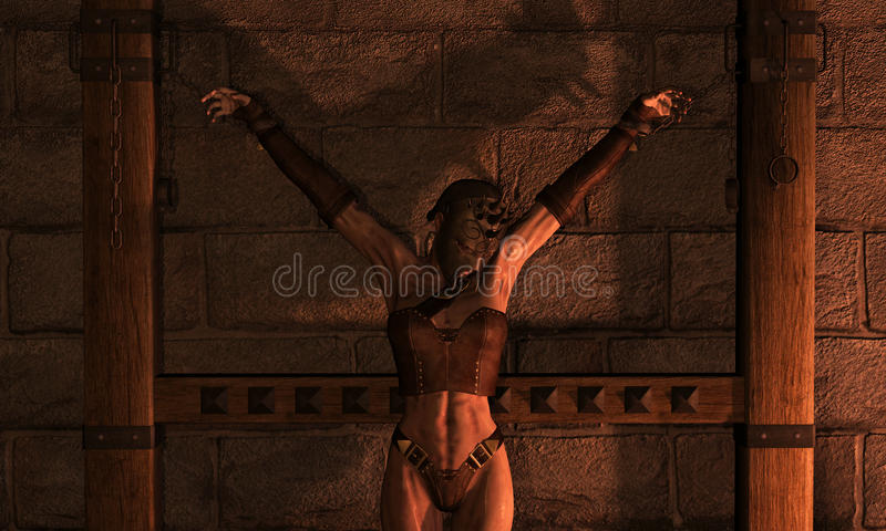 Mujer de la inquisición en encadenamientos ilustración del vector